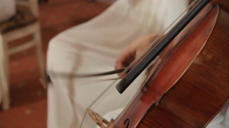 симфония : Girl with a bow plays the cello at a concert. Musical concert. Close-up of female hands. Side view. Woman musician in an orchestra.