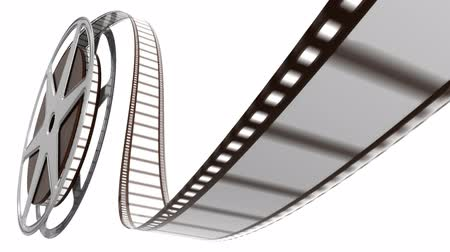 bioscoop : Filmrol op wit Stockvideo