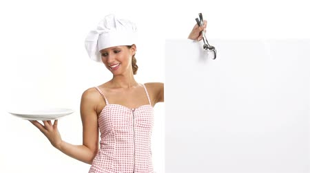 chef cooking : chef woman showing indicates billboard with cutlery dish