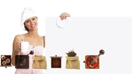 рекламный : chef woman showing indicate billboard with cup, coffee promotion