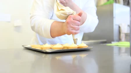 pastry : hands pastry prepare cream fruit sweets Stock Footage
