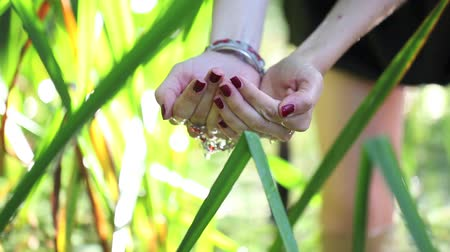 wicca : hands in water, ritual concept