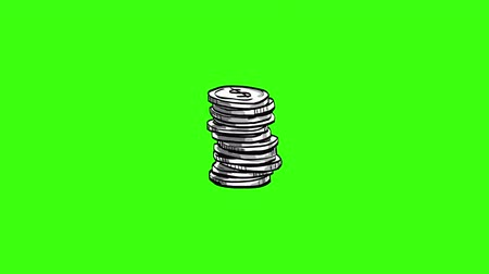 robbed : Financial Stack of Coins with Dollar Stock Footage
