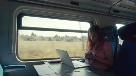 train workers : Pregnancy Woman Working with Smartphone and Laptop Computer on a Train Stock Footage