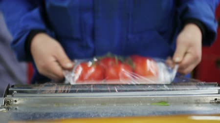 exportação : Worker wraps up containers with cling film with tomatoes. Grocery retailers and distribution. Close up indoors. Companies and providers of healthy food. Trader of retail and wholesale trade