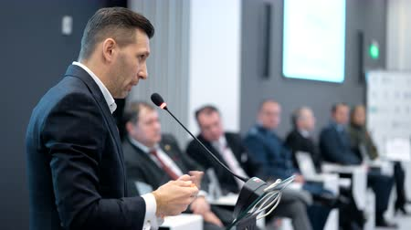 suécia : Moscow Russia - December 2 2016: Energy person from financial organization on the podium on forum to solve economic and political issues of our time and see problem. Speech about finance and industry Stock Footage