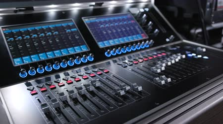 editing : Audio machine on table for working of sound designer or club dj at party in nightclub. Occupation for modern lifestyle and objects for listen at background. Musical player for tuning of stage close up