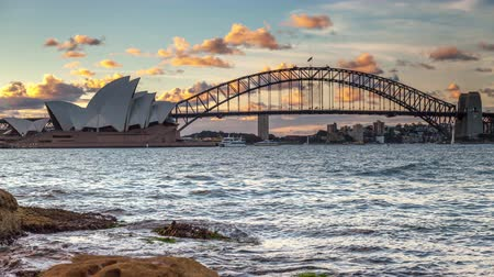 opera lirica : timelapse vista di Sydney Harbour a Twilight in 4K Filmati Stock