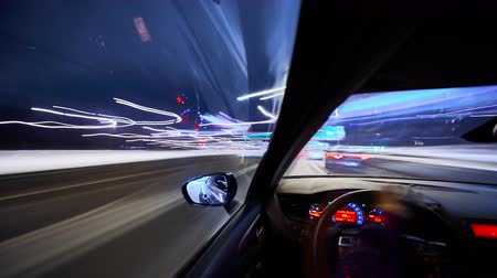 moscow night : Timelapse video View from Side of Car moving in a night city, Blured road with lights with car on high speed. Concept rapid rhythm of a modern city. Stock Footage