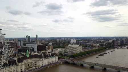 buckingham palace : Aerial panorama of central London, UK. Features the River Thames, Millennium Wheel (London Eye), Waterloo and South Bank area.