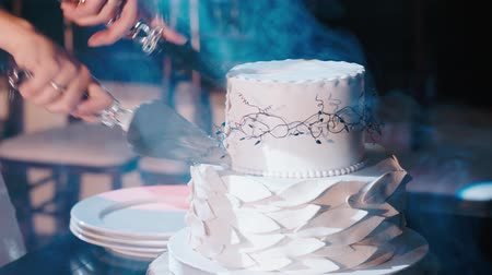 wedding cake : Cutting the wedding cake Stock Footage