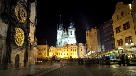 Прага : Astronomical Clock in Prague Стоковые видеозаписи