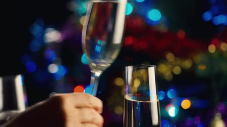 na zdraví : Several champagne glasses clink. The celebration of Christmas and New Year