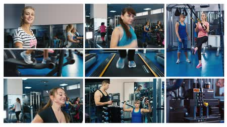 exercícios : fitness multiscreen, montage shoots with fitness in gym