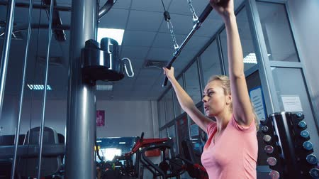 musculação : An attractive girl on the simulator training in the gym