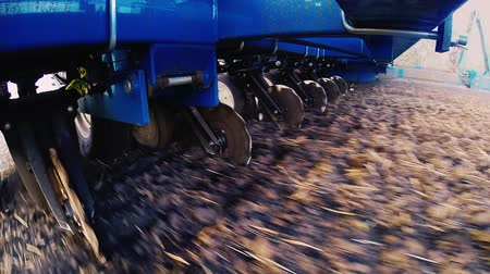 farm equipment : Seeder POV video, the lower angle