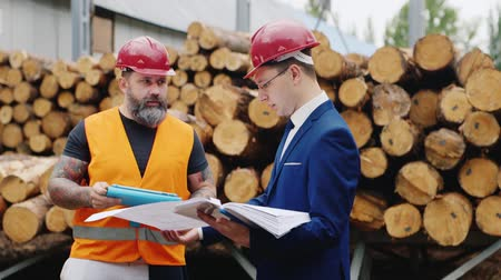 felügyelő : Architect gesturing vigorously and scolds worker builder. Standing together on the background of building timber