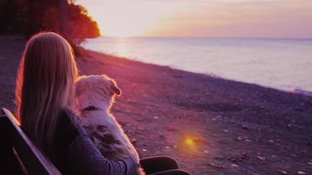 bank : Young woman with her dog along admiring the sunset