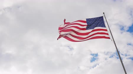 egemenlik : Large US flag on a background of gray sky, beautifully illuminated by the sun Stok Video