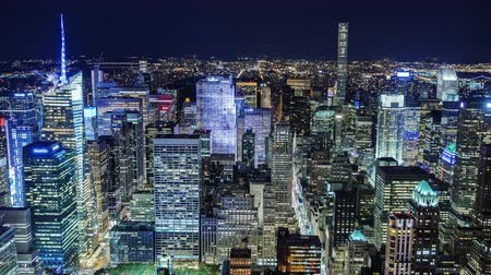 kerület : Incredible NY night view from above. Manhattan Business District Stock mozgókép