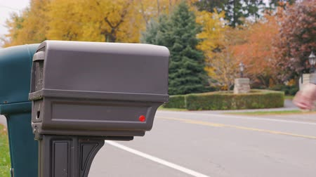 gazete : Wilson, New York - Oct, 2016: US Mail Delivery. Anonymous man picks up mail from the mailbox beside the road