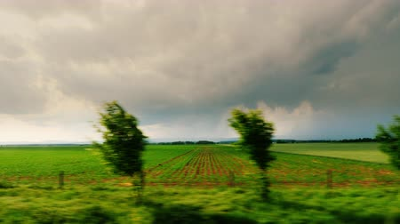 drive : Go along the picturesque rural landscape, in the background, thunderclouds and lightning flashes. Before the storm begins