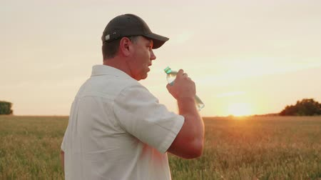 муж : A middle-aged farmer man opens a bottle of water and drinks. Standing in the wheat field at sunset