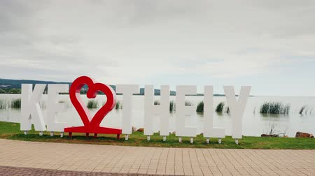 subtítulo : Keszthely, Hungury, June 2017: I love Keszthely. An inscription with a red heart. Popular resort of Hungary