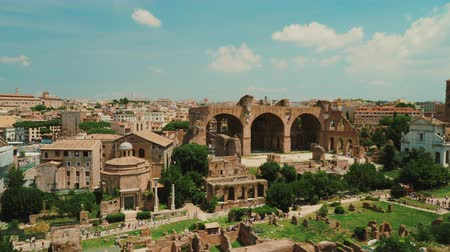 palatine : The famous Roman Forum and the Colosseum in the background Stock Footage