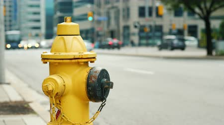 greater : Fire hydrant in the background of a busy street in Toronto