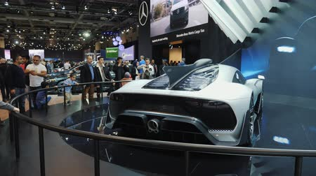 wyscigi : Toronto, Canada, February 20, 2018: A luxury racing Mercedes AMG stands on the stand at an exhibition of cars in Toronto