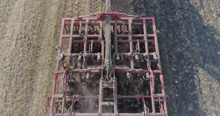 furrow : Top view: The harrowing and aeration of the soil before sowing Stock Footage