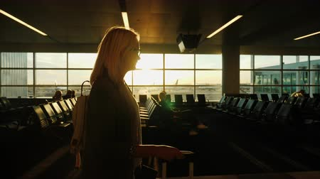 goes : A business woman with hand luggage goes to the airport terminal. Stock Footage