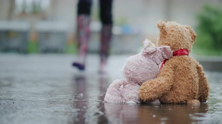 peluş : A man raises two wet toys from a puddle. Help and Hope Concept Stok Video
