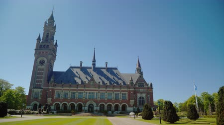 adliye : Hague,Netherlands, May 2018: The Peace Palace in The Hague, where the seat of the International Court of Justice is located