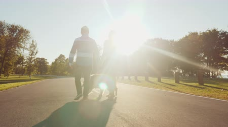 ırklararası : Rear view: Couple are walking in the park with a dog. Steadicam shot