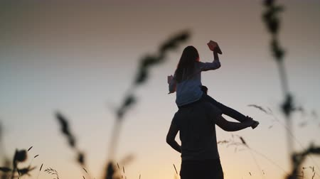 filha : Happy father playing with his daughter at sunset. Low angle video Vídeos