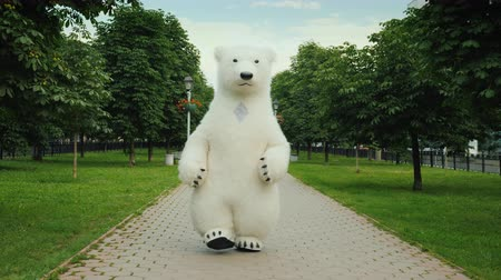 долл : Growth doll strolls through the morning park, a healthy way of life of a polar bear