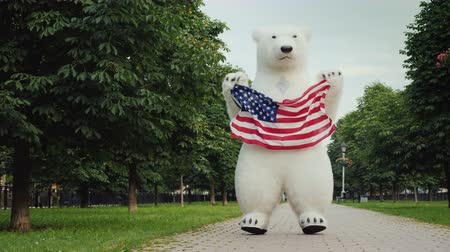 долл : A large growth doll in the form of a polar bear jumps fun and waving a huge American flag in the city park