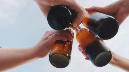 na zdraví : A group of friends clink glasses with beer bottles against the sky, the lower camera angle