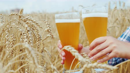 bira fabrikası : Two glasses of seductive cold beer against the background of the wheat field. In the hands of an unrecognizable woman