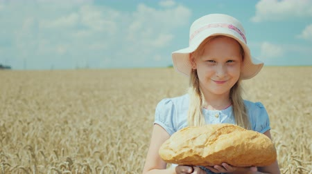 besinler : Portrait of a girl with a loaf of bread. Standing on the wheat field, looking at the camera