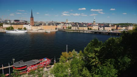 stockholm : View of the city Stockholm in Sweden. Beautiful city on a clear summer day Stock Footage