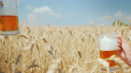 na zdraví : Successful conclusion of the deal and drinking beer on a wheat field from mugs are doubled by farmers