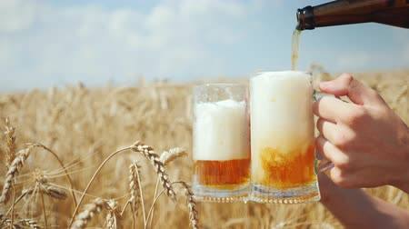 bira fabrikası : Pour a cool beer in a mug on the field of ripe golden wheat. To quench your thirst and organic organic product concept