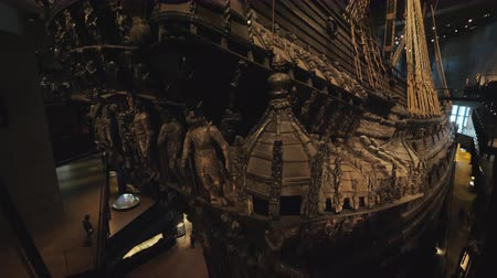 vasa : Stockholm, Sweden, July 2018: The stern of a huge medieval sailboat Vasa. Miraculously preserved until our days, raised from the day of the sea