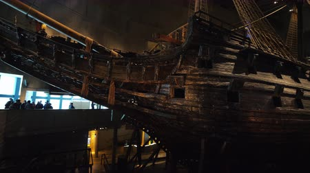 vasa : Stockholm, Sweden, July 2018: Vasas medieval sailboat in the museum. An amazing ship that has survived to our days, raised from the bottom of the sea