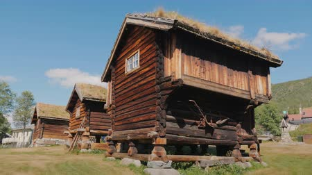 antiques : Several ancient traditional Norwegian houses. Steadicam shot