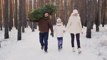 arka görünüm : A happy family with a child is walking along a snow-covered forest, the father is carrying a Christmas tree. Christmas Eve and New Years Eve.