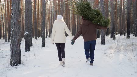 sen : A young couple is walking along a snow-covered forest, a man is carrying a Christmas tree. Christmas Eve and New Years Eve